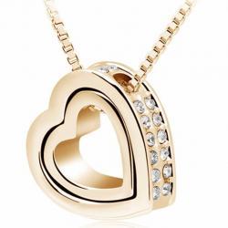 Náhrdelník Double Heart-Zlatá