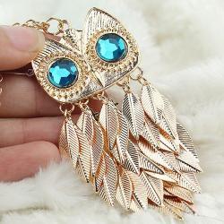 Náhrdelník Gold Leaves Owl - Zlatá