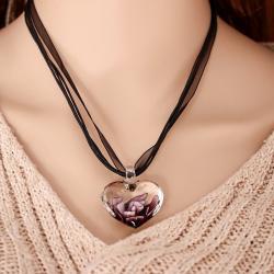 Náhrdelník Heart Glass-Fialová