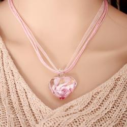 Náhrdelník Heart Glass-Ružová