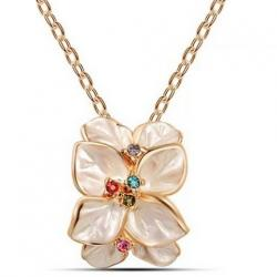 Náhrdelník Leaf Flower - Ružová/ Zlatá