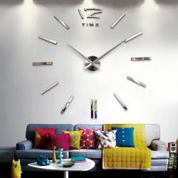 Nalepovacie nástenné hodiny Elegant - Strieborná
