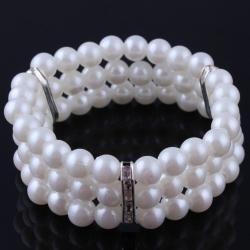 Náramok Pearl Look-Biela