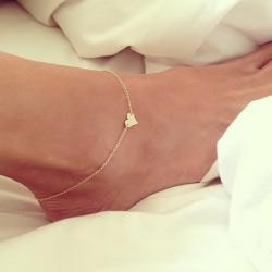 Náramok na nohu Heart-Zlatá