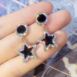 Náušnice Black Star-Čierna