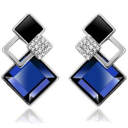 Náušnice Block - Strieborná/Modrá