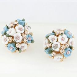 Náušnice Bunch Flower - Modrá