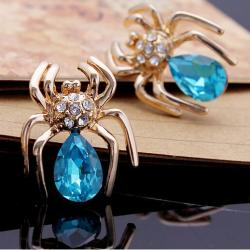 Náušnice Crystal Spider-Zlatá/Modrá