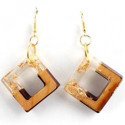 Náušnice Cube Resin-Kryštálová/Zlatá