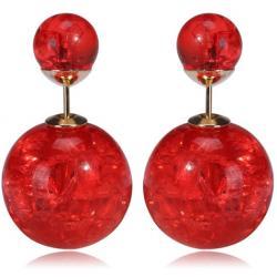 Náušnice Double Bead - Červená kryštálová
