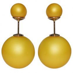 Náušnice Double Bead - Žltá