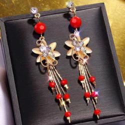Náušnice Elegant Flower-Červená