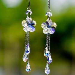 Náušnice Flower Crystal-Kryštálová