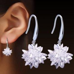 Náušnice Ice Flower-Strieborná