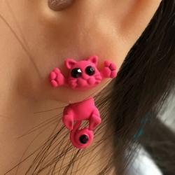 Náušnice Kitty Cat - Ružová
