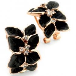Náušnice Leaf Flower - Čierna