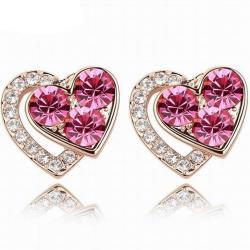 Náušnice Lovely Heart-Ružová
