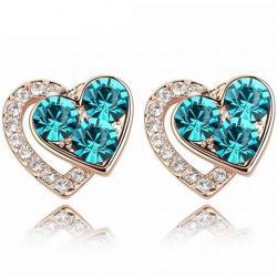 Náušnice Lovely Heart-Zelená
