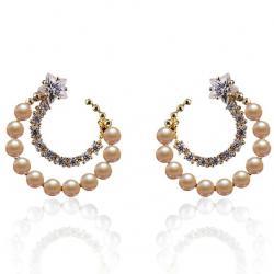 Náušnice Pearly Moon-Zlatá
