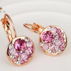 Náušnice Pink Hoop-Zlatá/Ružová