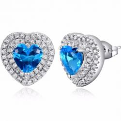 Náušnice Queen Heart-Modrá