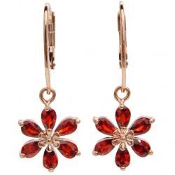 Náušnice Red Flower-Zlatá/Červená