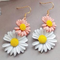 Náušnice Summer Daisy-Ružová/Biela