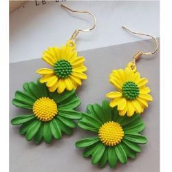 Náušnice Summer Daisy-Žltá/Zelená