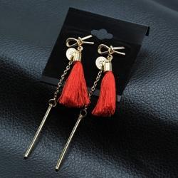 Náušnice Tassels-Červená