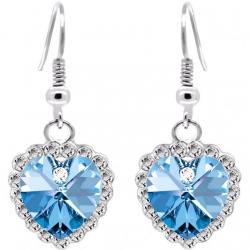Náušnice Zircon Heart-Strieborná/Modrá