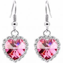 Náušnice Zircon Heart-Ružová