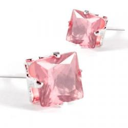 Náušnice napichovacie Kocky - Ružová