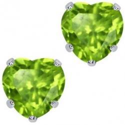Náušnice napichovacie Srdiečka- Zelená