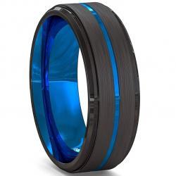Prsteň Aron-Čierna/Modrá/57mm