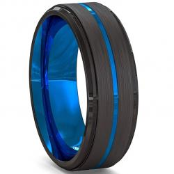 Prsteň Aron-Čierna/Modrá/69mm