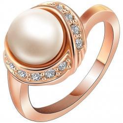 Prsteň Bridal Pearl - Zlatá / 52mm