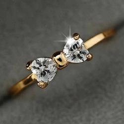Prsteň Crystal Bow-Zlatá/51mm