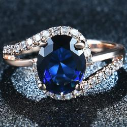 Prsteň Diana-Zlatá/Modrá/59mm