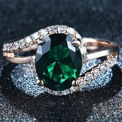 Prsteň Diana-Zlatá/Zelená/59mm