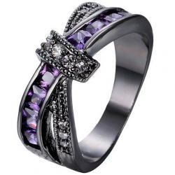 Prsteň Divine-Čierna/Fialová/49,3mm