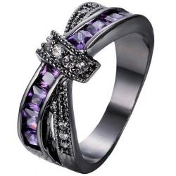 Prsteň Divine-Čierna/Fialová/67.2mm