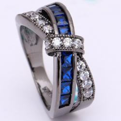 Prsteň Divine-Čierna/Modrá/49,3mm