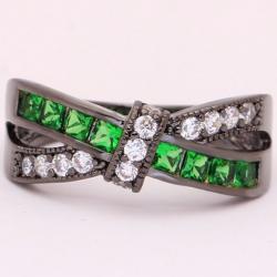 Prsteň Divine-Čierna/Zelená/64,6mm