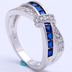 Prsteň Divine-Str./Modrá/54,4mm