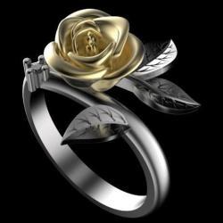 Prsteň Flower Rose-Strieborná/65mm