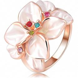 Prsteň Leaf Flower- Ružová -zlatá / 59mm