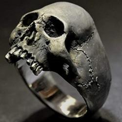 Prsteň Lebka-Čierna/67mm