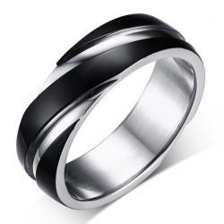 Prsteň Twist-Čierna/65mm