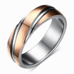 Prsteň Twist-Zlatá/Ružová/57mm