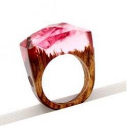 Prsteň Wood Resin Typ1-Ružová/57mm
